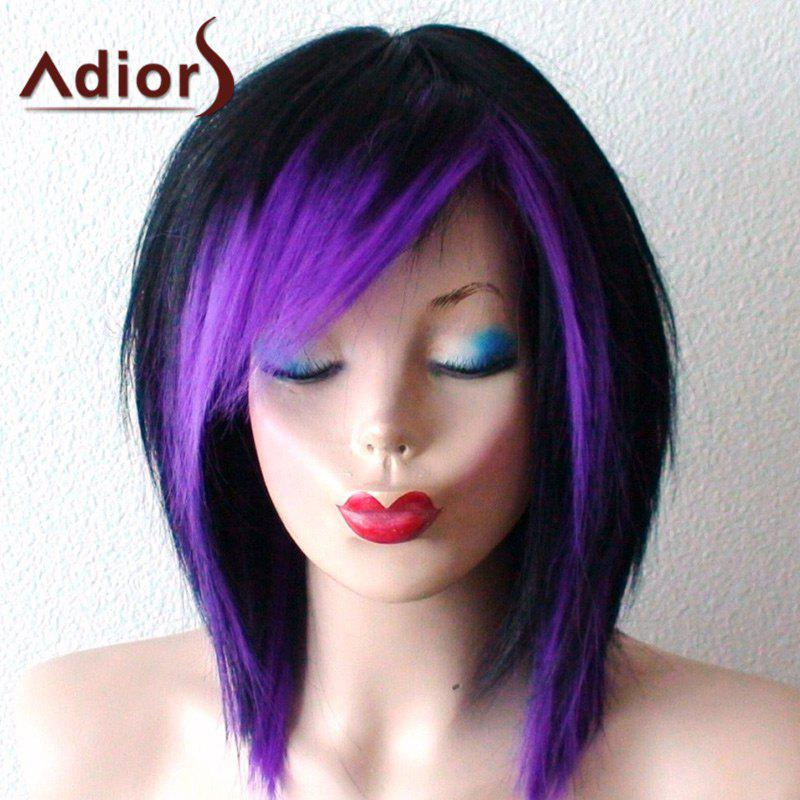 Short Inclined Bang Ombre Straight Bob Synthetic Wig short pixie cut capless straight inclined bang synthetic wig