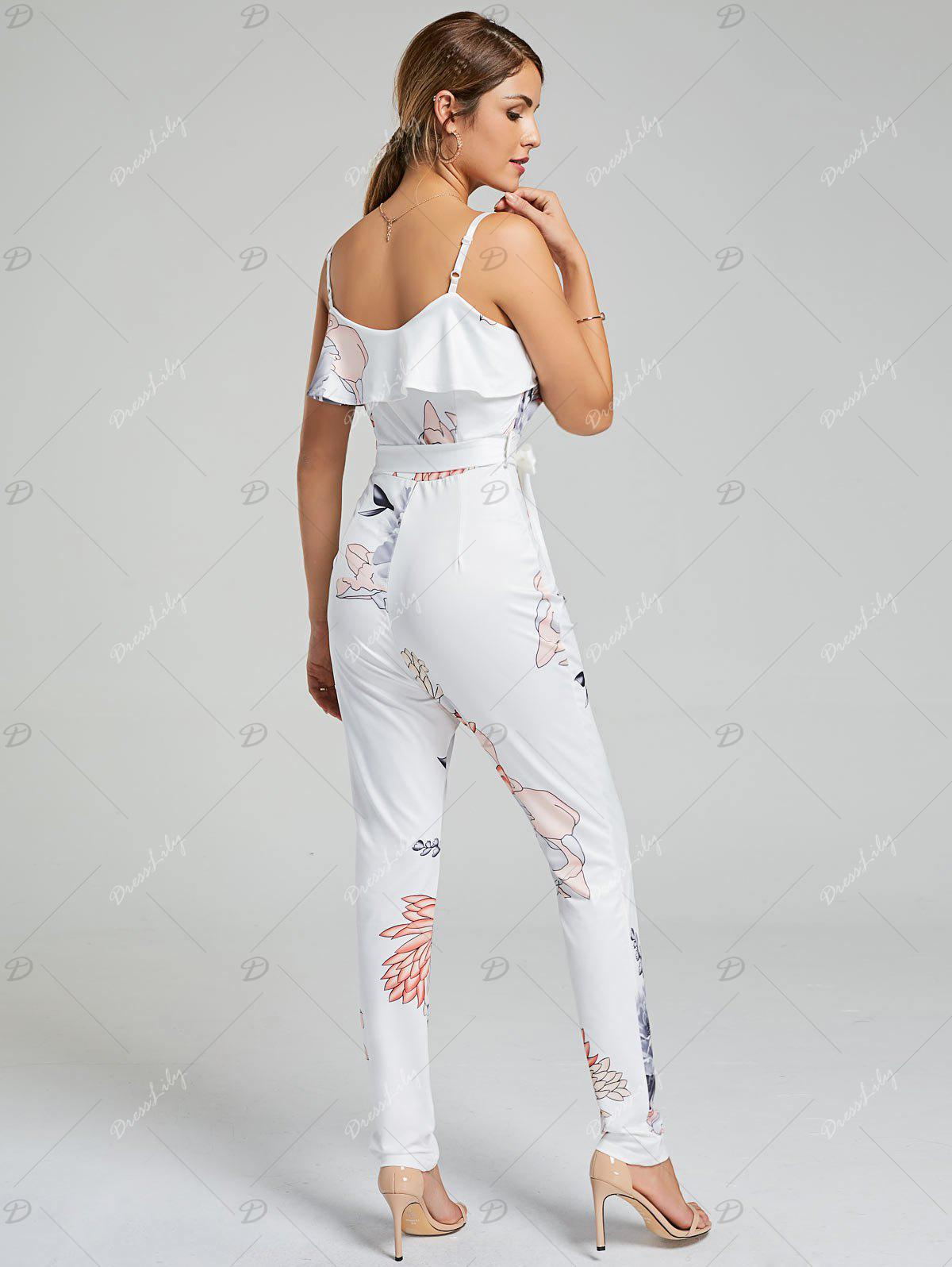 Ruffle Floral Belted Slip Jumpsuit - WHITE M