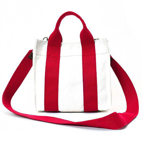 Canvas Stripe Tote Bag - RED
