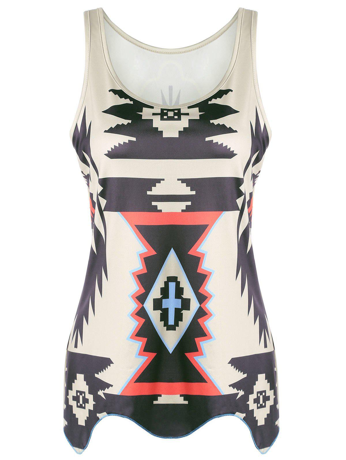 Graphic Geometric Print Tank Top letter graphic long tank top