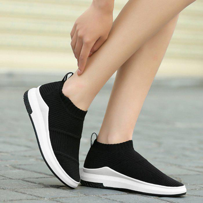Striped Breathable Slip On Athletic Shoes - BLACK 39