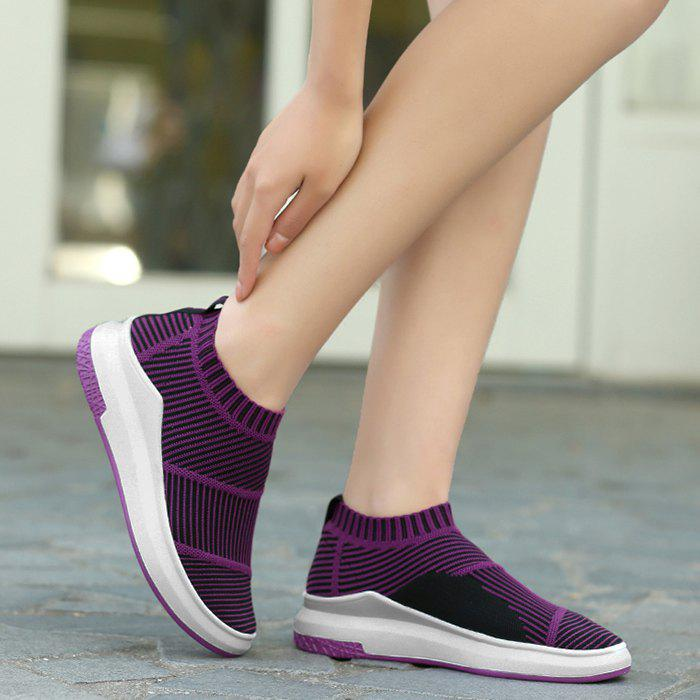 Striped Breathable Slip On Athletic Shoes - PURPLE 40