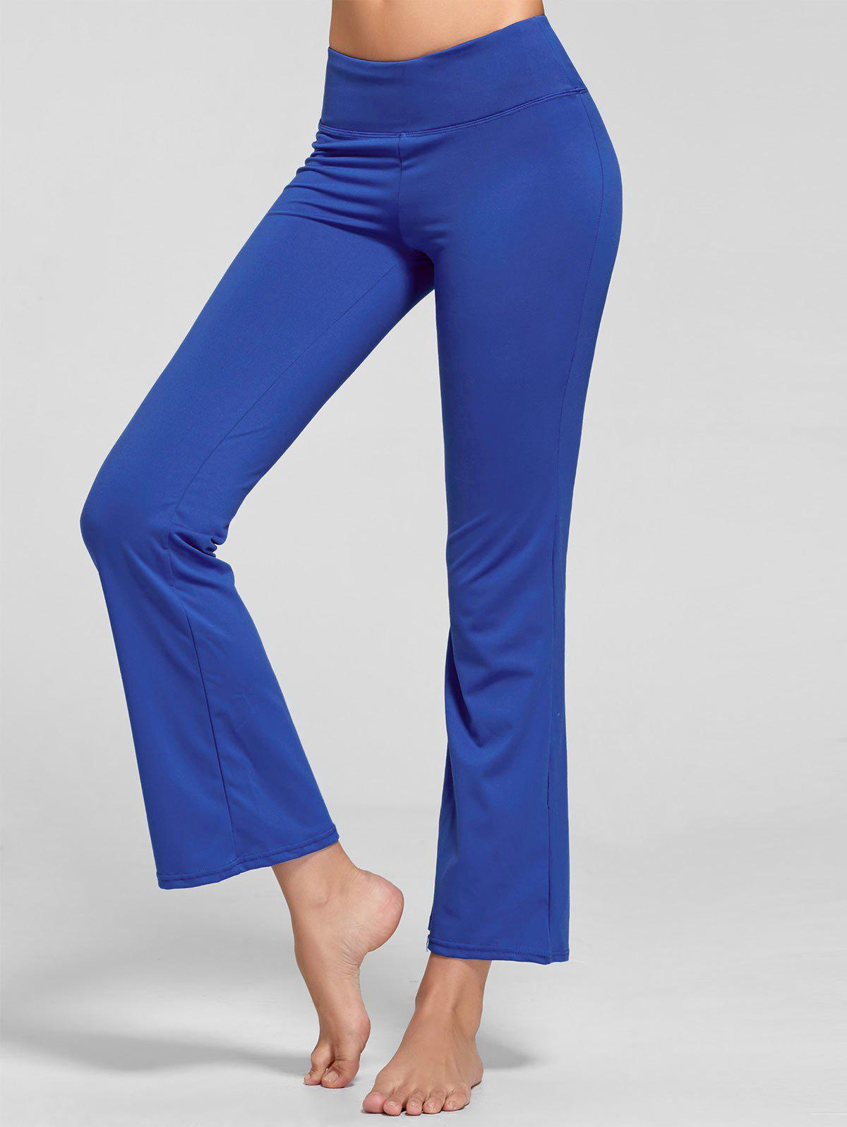 Stretch Bootcut Yoga Pants with Pocket - BLUE M