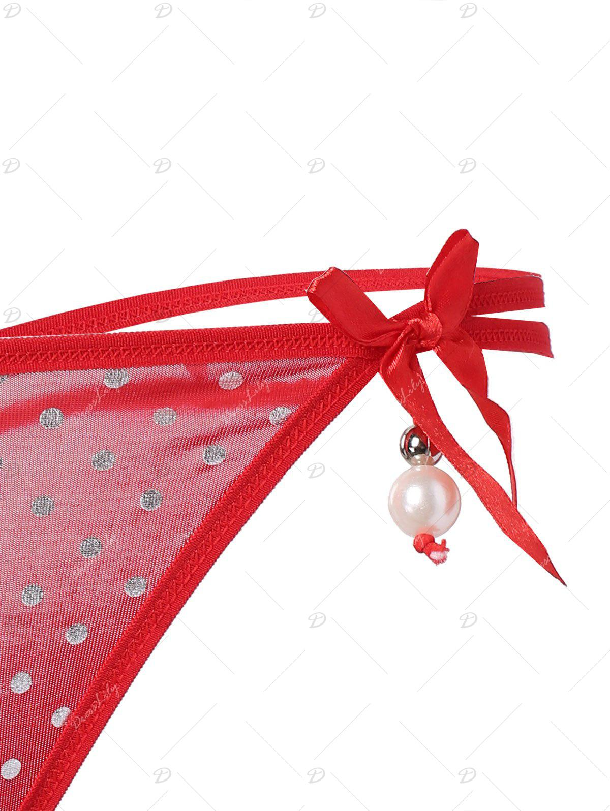 Polka Dot Faux Pearl Lingerie G-String - RED ONE SIZE