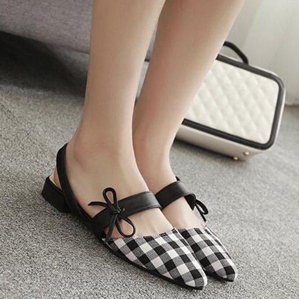 Bowknot Plaid Point Toe Flats - Blanc 39