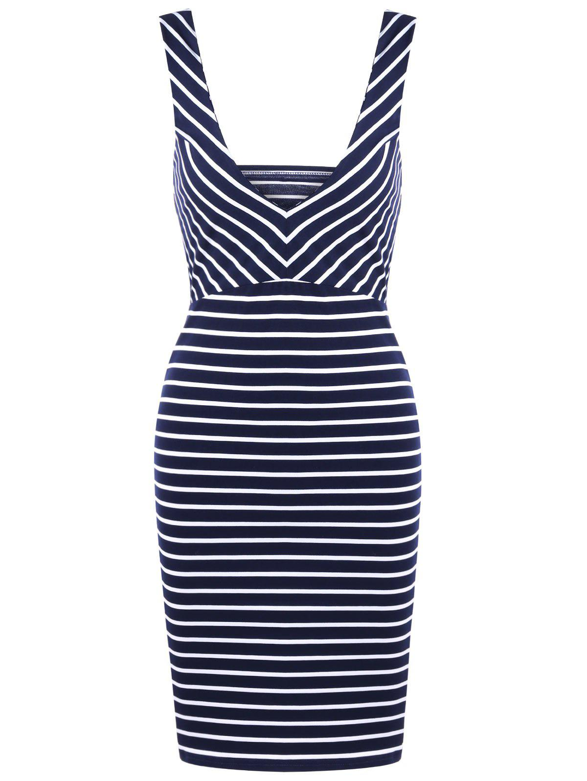 Striped Plunging Neck Open Back Bodycon Dress - Royal XL