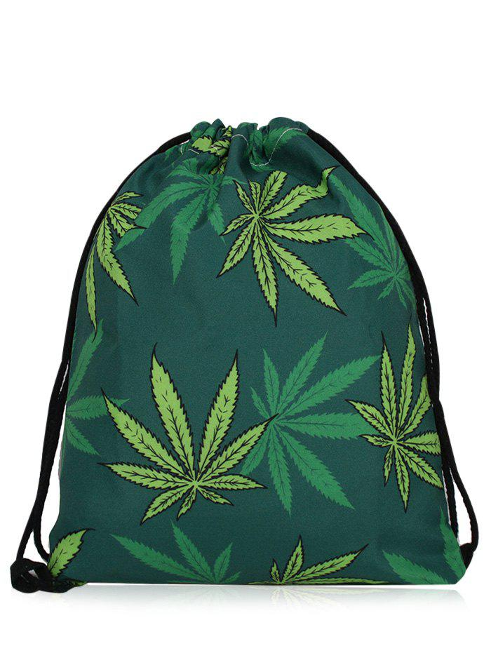 Printed Nylon Drawstring Bag - DEEP GREEN