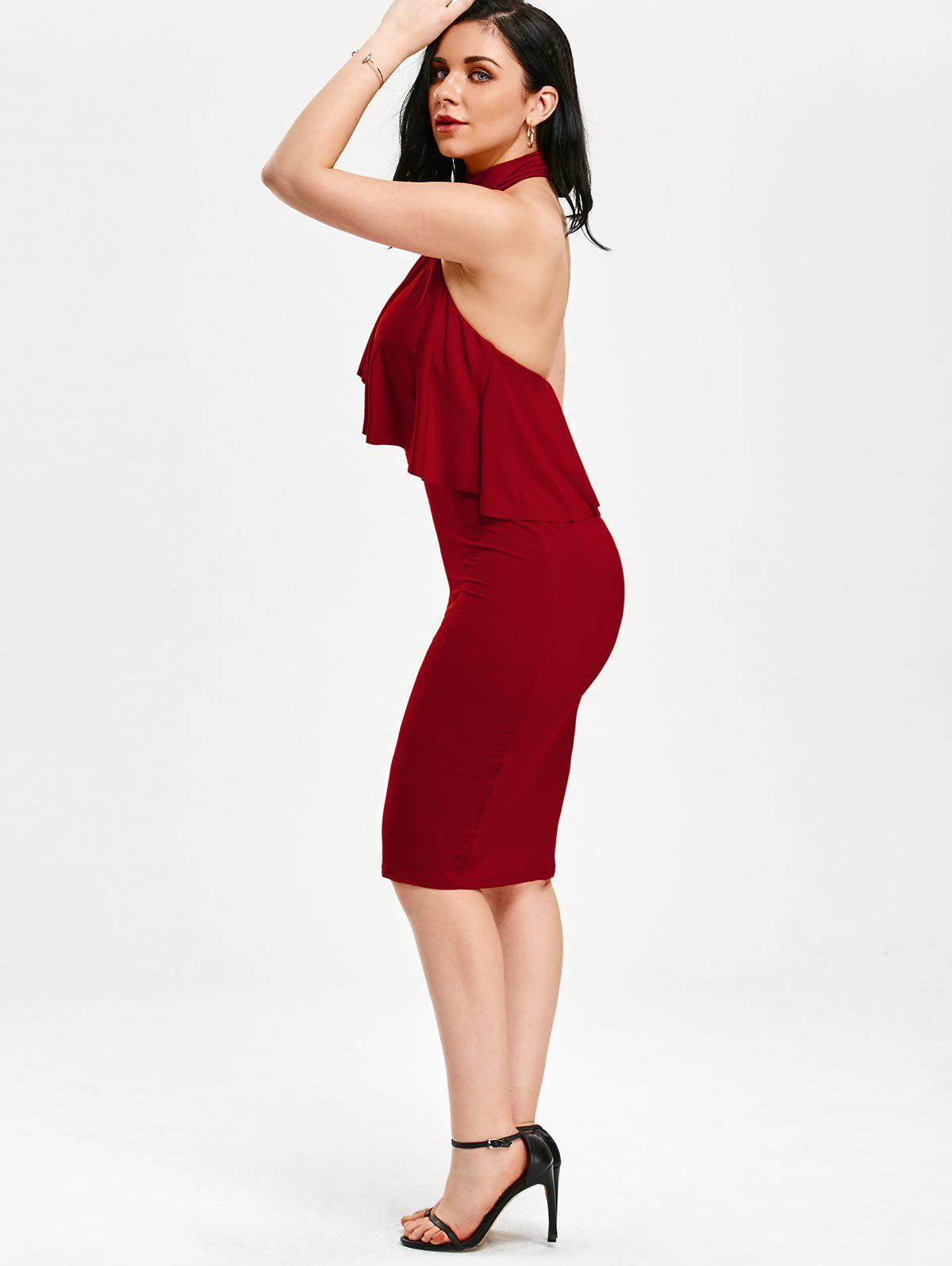Flounce High Neck Backless sans manches Bodycon Dress - Rouge S