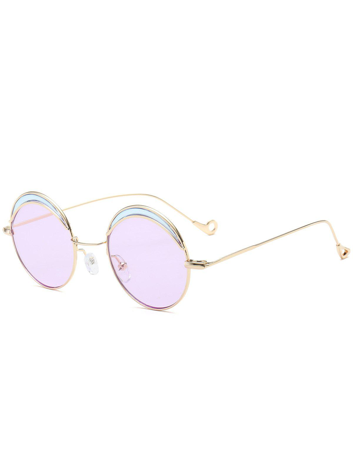Two-tone Spliced Round Hollow Out Leg Sunglasses - LIGHT PURPLE