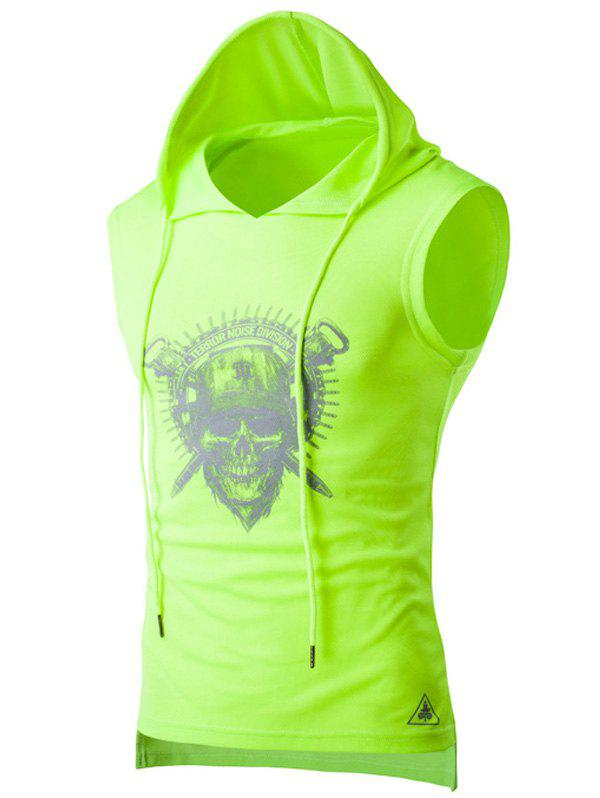 Skull Print Drawstring Hooded Sport Tank Top - NEON GREEN XL