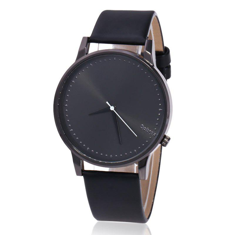 Minimalist Faux Leather Quartz Watch - BLACK