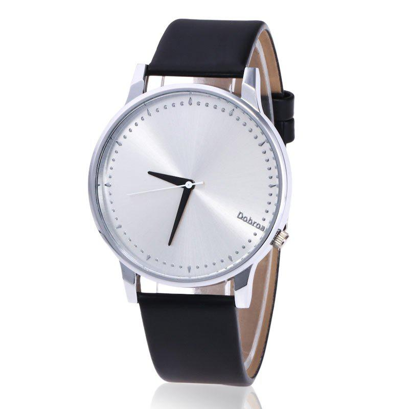 Minimalist Faux Leather Quartz Watch - Noir/Argent