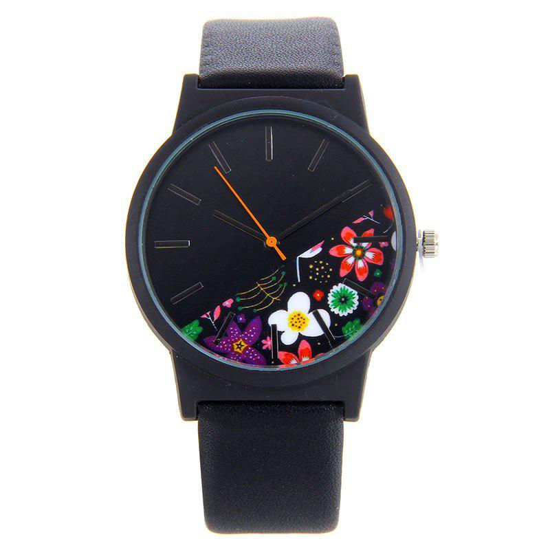 Floral Face Faux Leather Analog Watch - BLACK