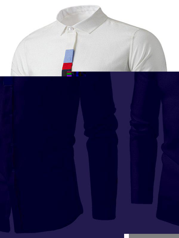 Cover Placket Color Block Panel Long Sleeve Shirt - WHITE 3XL