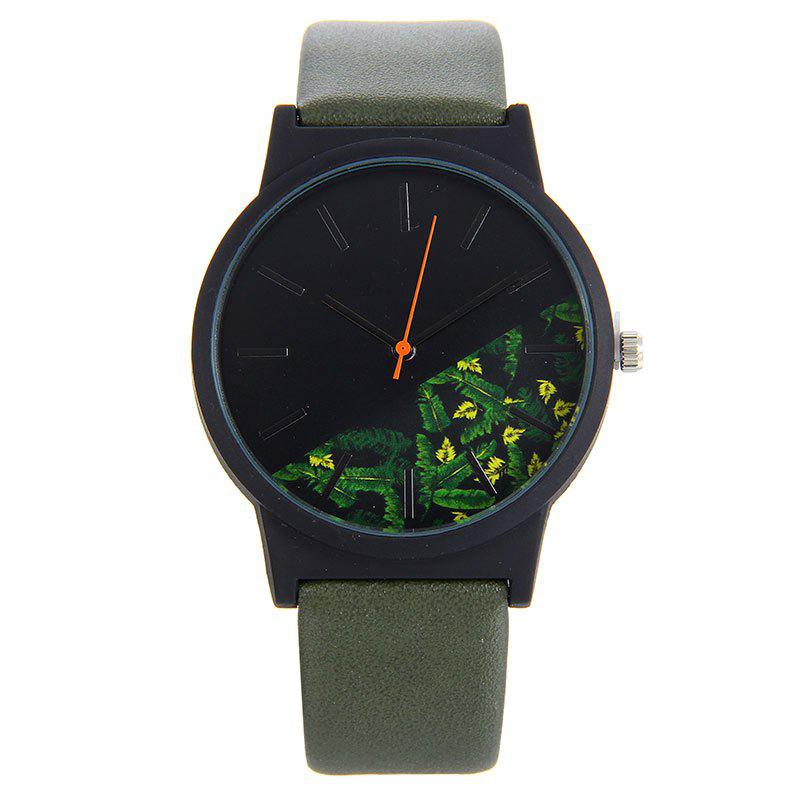 Floral Face Faux Leather Watch, Army green
