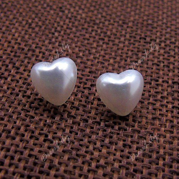Artificial Pearl Heart Tiny Stud Earrings - WHITE