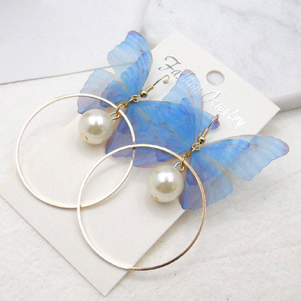 Faux Pearl Yarn Circle Butterfly Earrings - BLUE