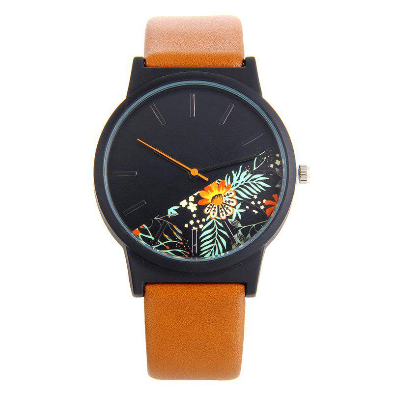 Faux Leather Watch With Floral Face - BROWN