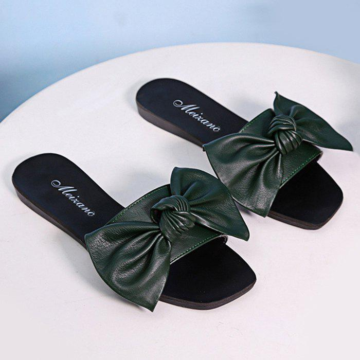 Flat Heel Bowknot Faux Leather Slippers - BLACKISH GREEN 37