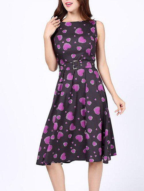 2018 Heart Print Pin Up Party Dress PURPLE S In Vintage Dresses ...