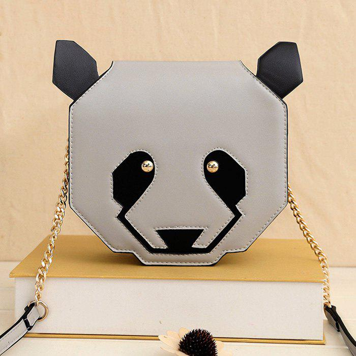 Panda Shaped Chain Crossbody Bag - LIGHT GRAY
