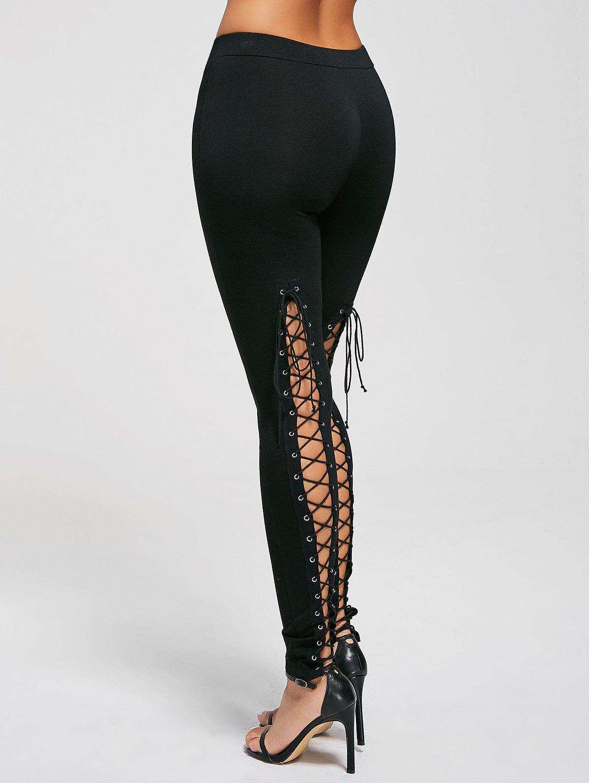 Lace Up Cut Out Leggings - BLACK L