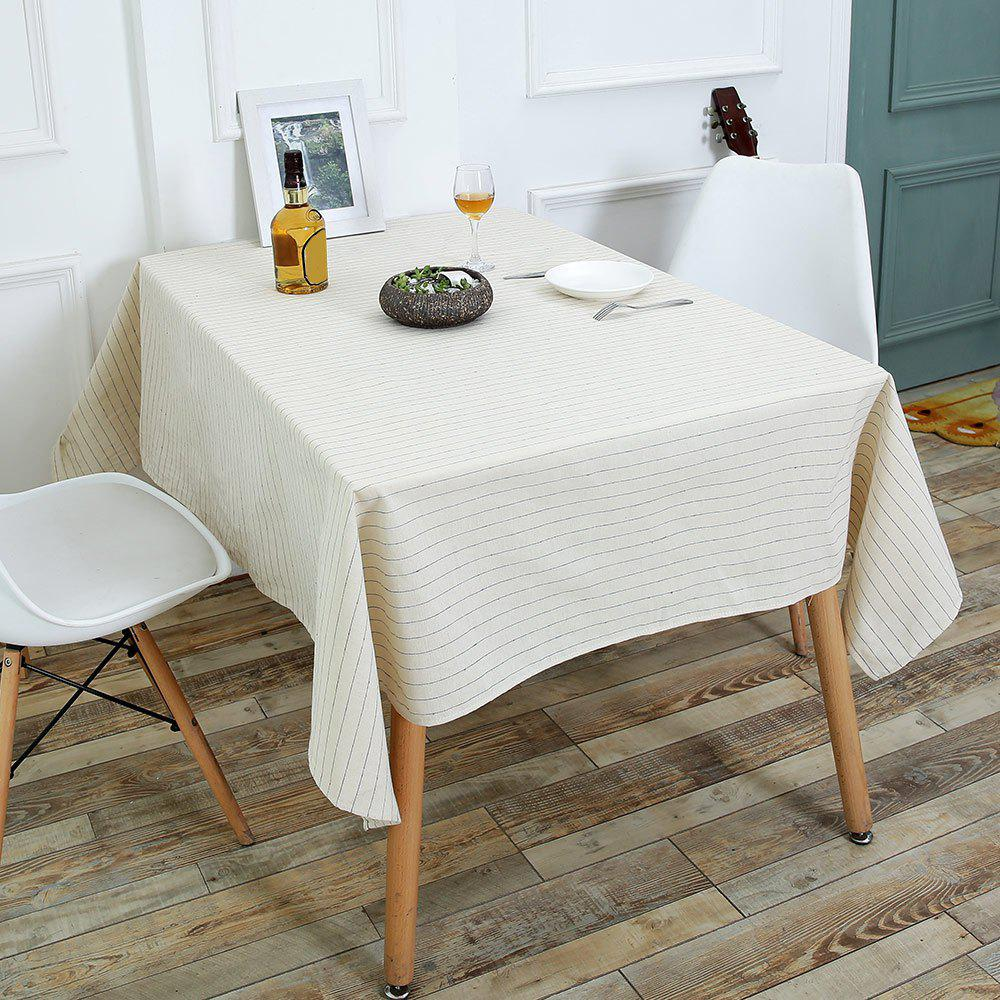 Striped Pattern Linen Table Cloth - WHITE W55 INCH * L71 INCH