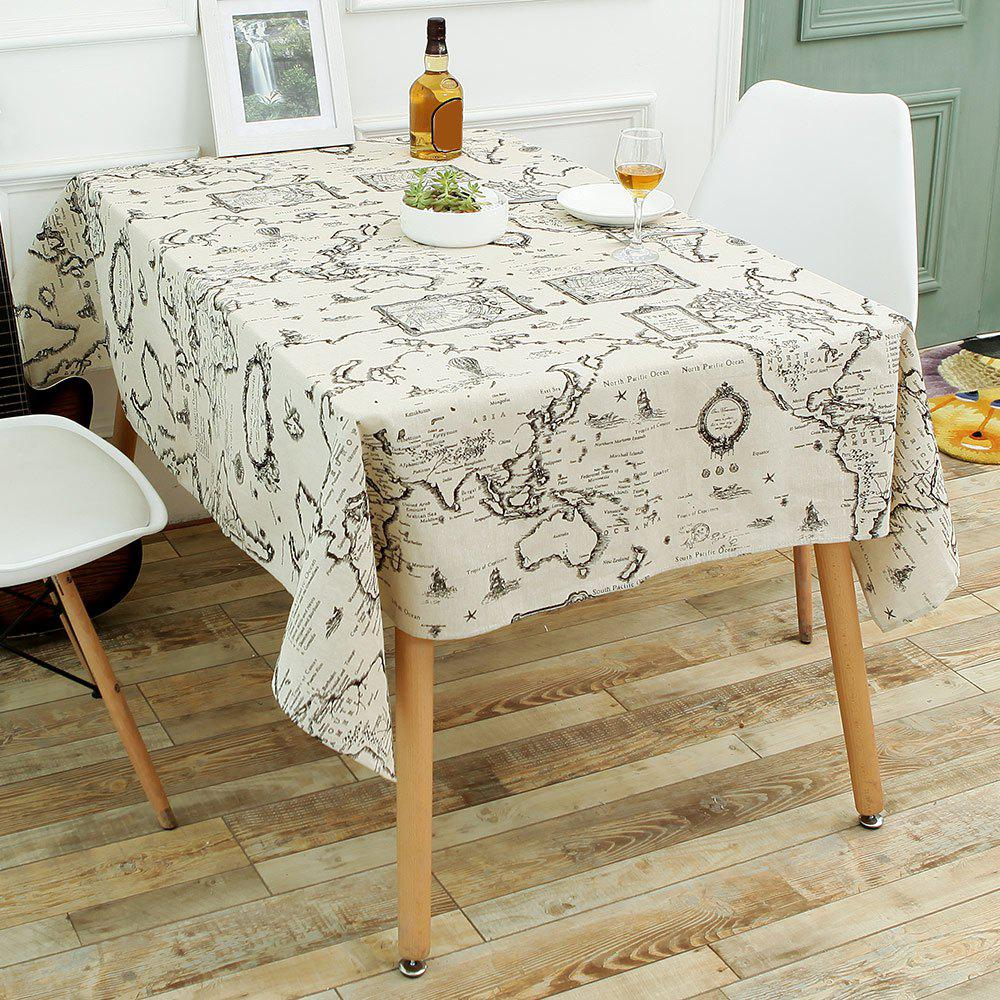 World Map Print Linen Table Cloth цена