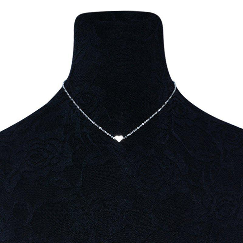 Heart Shaped Collarbone Necklace - SILVER