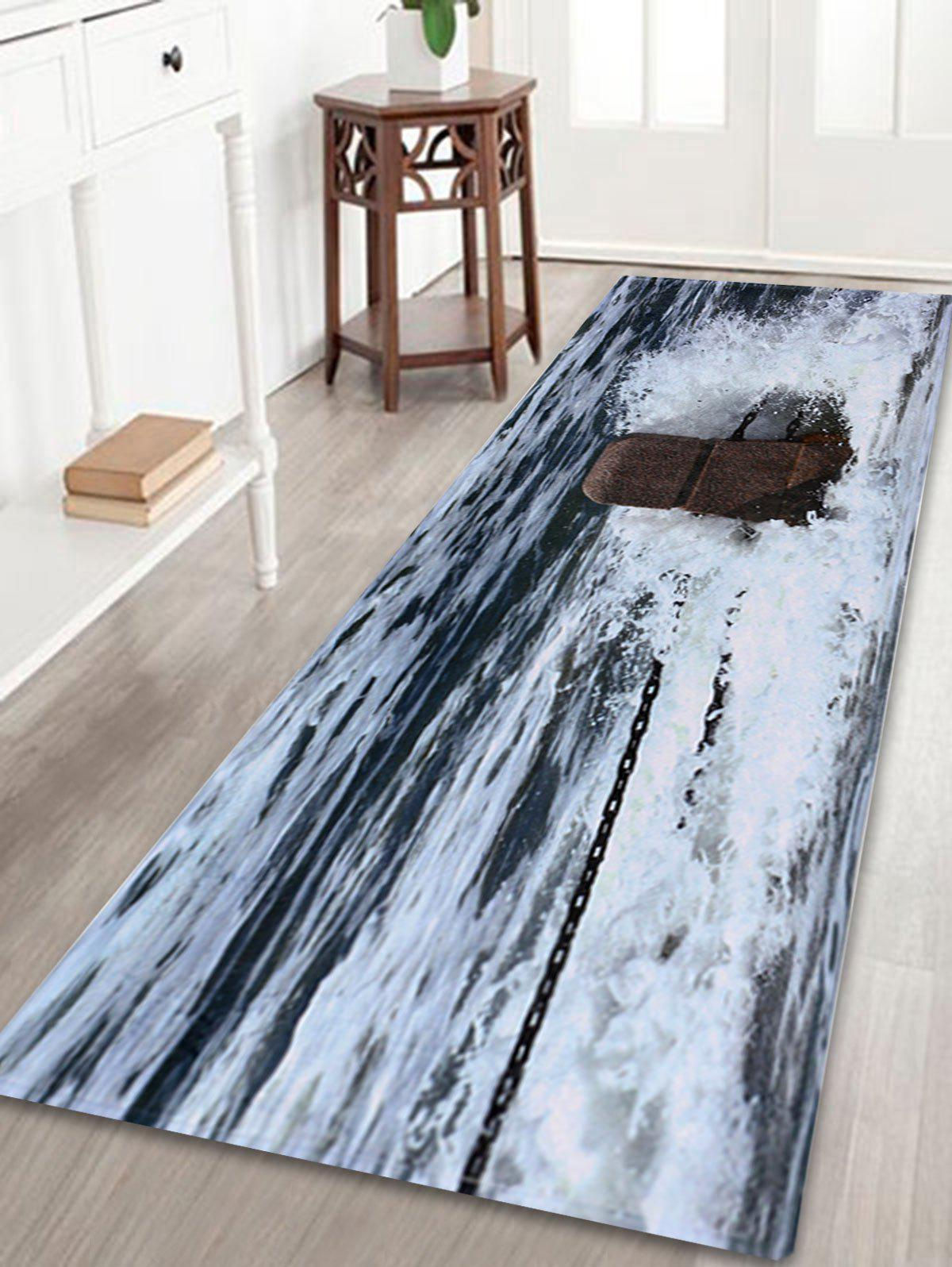 Coral Fleece Ocean Spindrift Antislip Door Mat slabstone pattern coral fleece large door mat