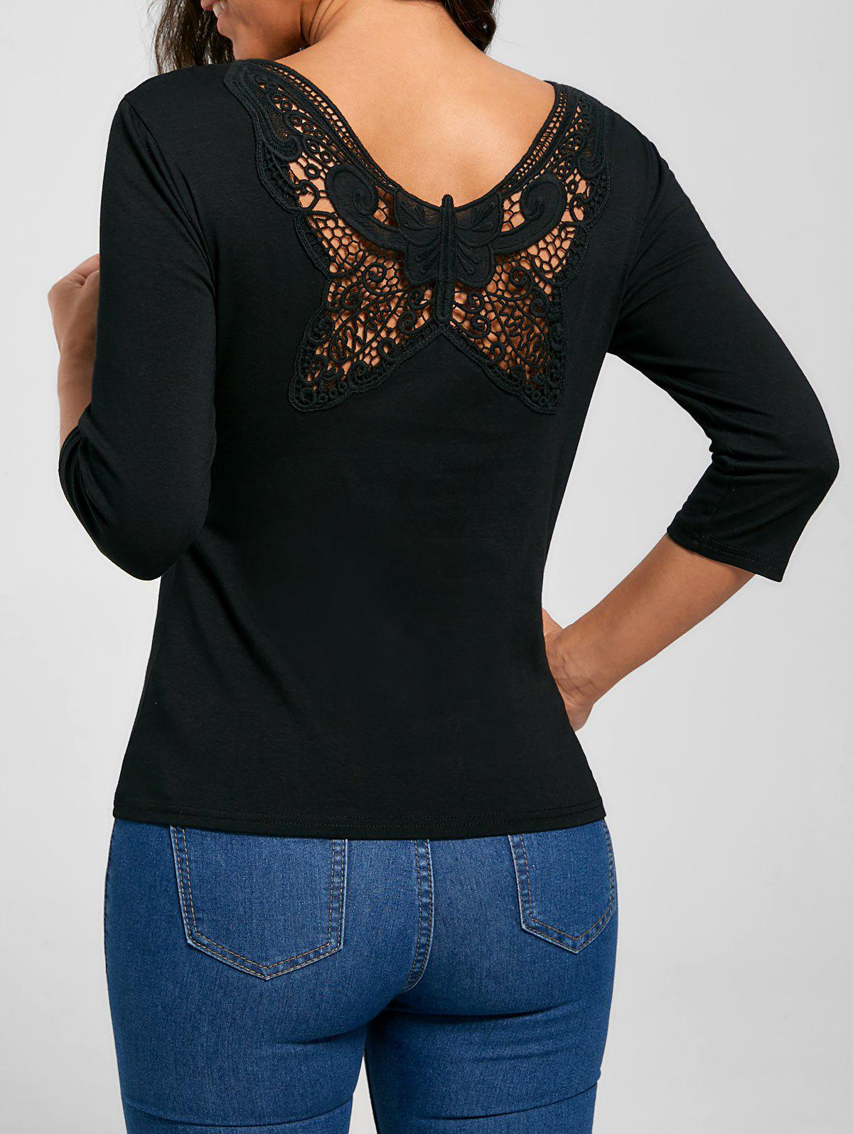 2018 Scoop Neck Butterfly Lace Back T Shirt Black S In