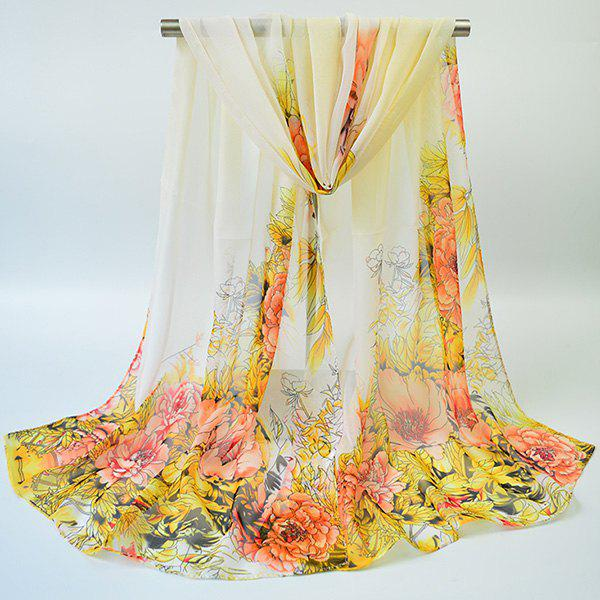 Gossamer Hand-painted Flowers Bloom Printed Scarf gossamer printed beach sarong wrap scarf