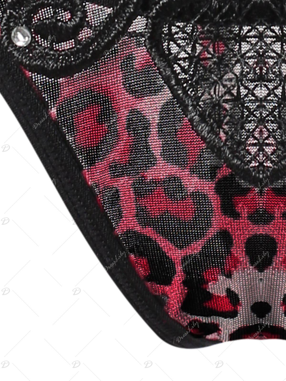 Leopard Embroidered Lingerie T Back - RED ONE SIZE