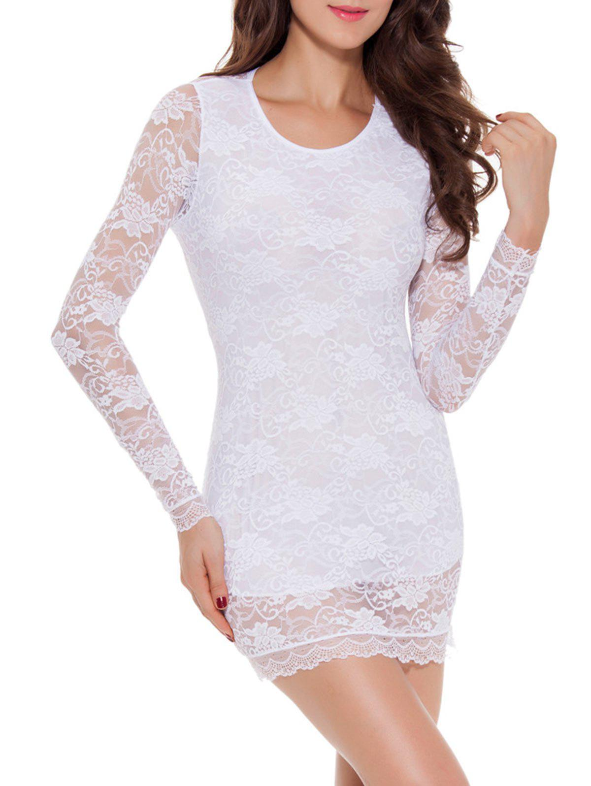 Lace Long Sleeve Bowknot Sleep Dress - WHITE L