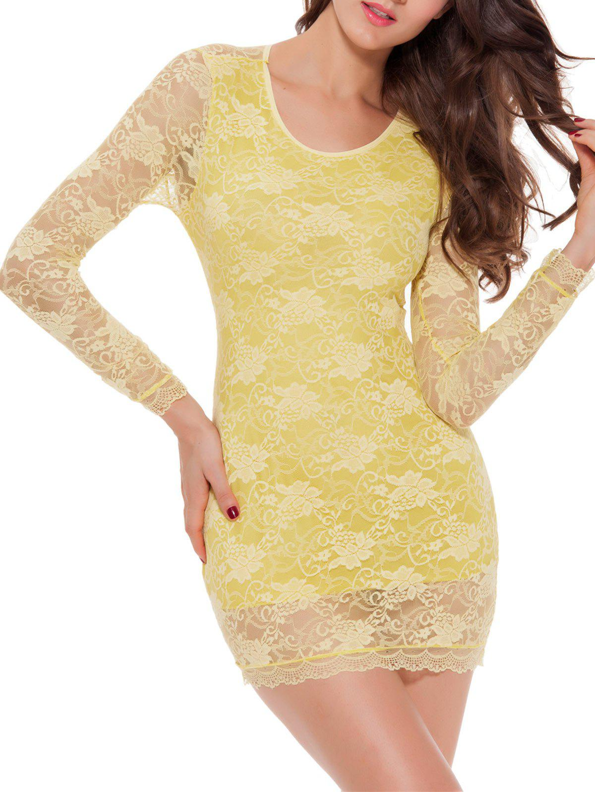 Lace Long Sleeve Bowknot Sleep Dress - YELLOW XL