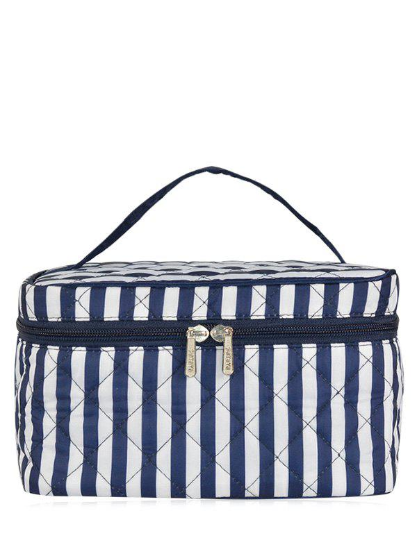Top Handle Quilted Cosmetic Bag - BLUE