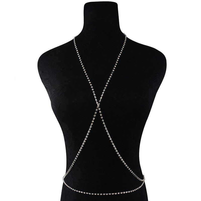 Rhinestone X-Shape Body Chain - SILVER