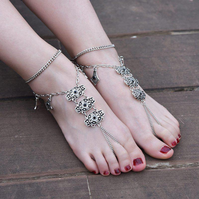 1PC Vintage Slave Anklet with Alloy Engraved - SILVER