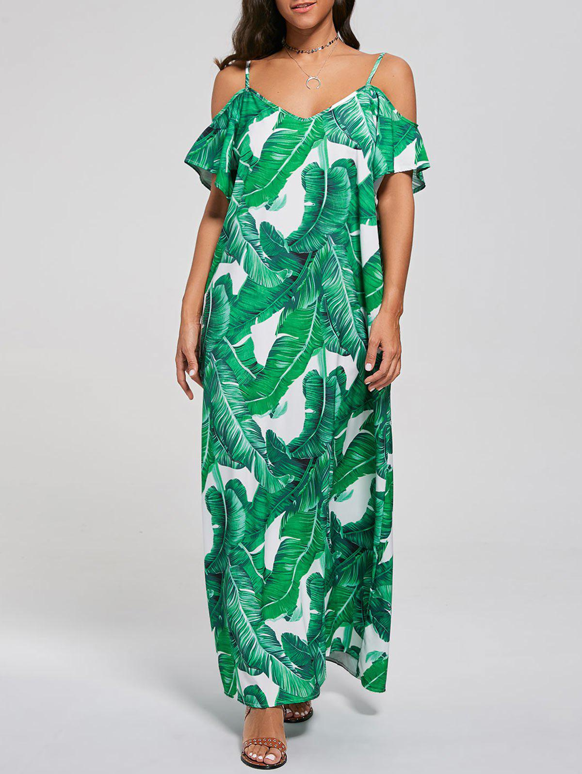 2018 Cold Shoulder Tropical Maxi Dress GREEN XL In Maxi Dresses ...