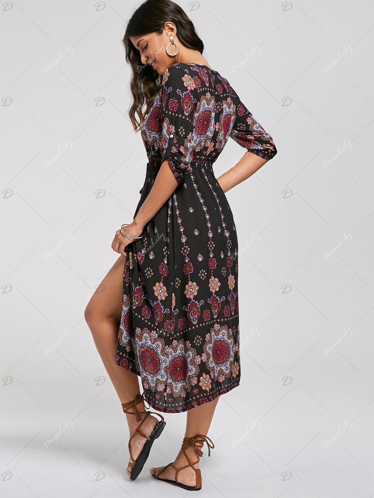 Bohemian Tribal Print Button Down Dress - COLORMIX S