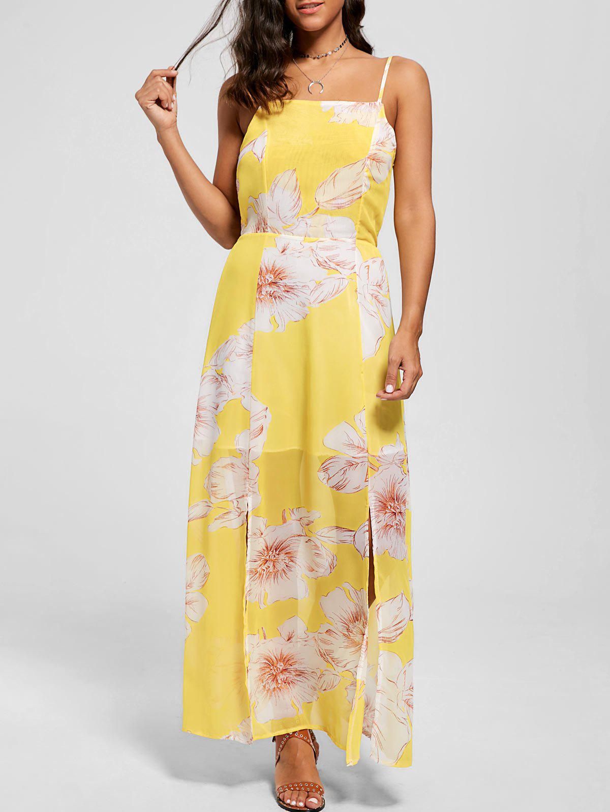 Floral Spaghetti Strap Maxi Beach Dress - YELLOW XL