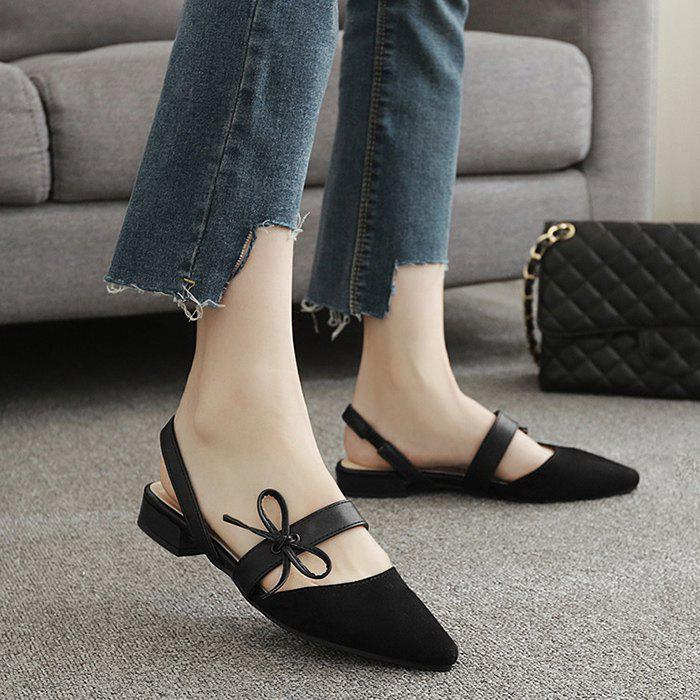 Bowknot Suede Mary Jane Slingback Flat - Noir 37