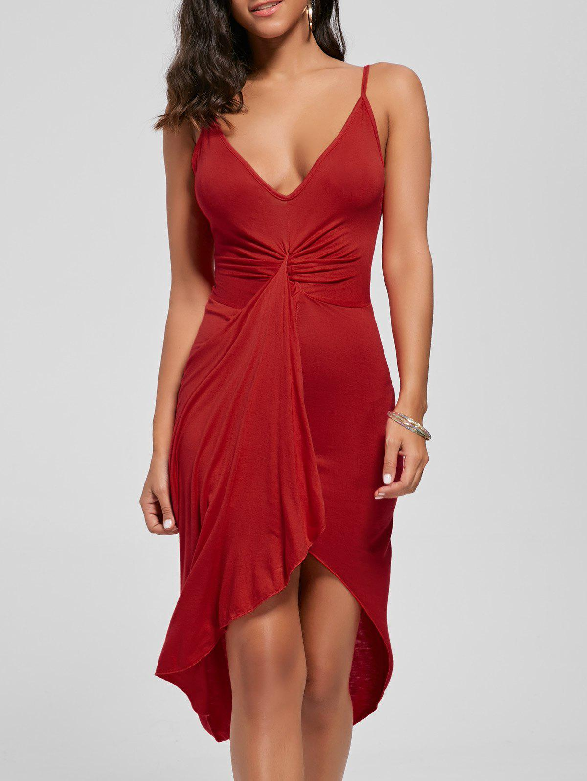 Knotted Asymmetrical Dress - RED L