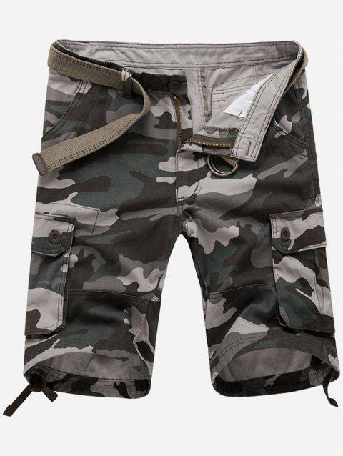 Zipper Fly Poches Camouflage Cargo Shorts - Gris 32