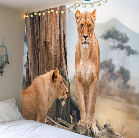 Lions Forest Waterproof Wall Art Tapestry - BROWN W79 INCH * L59 INCH