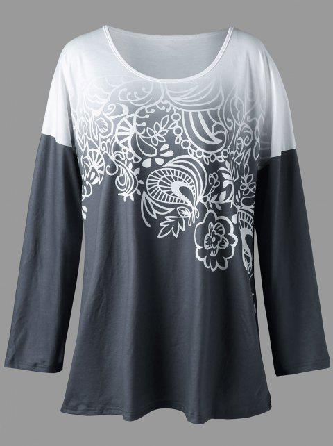 2099a39a77f CUSTOM  2019 Plus Size Bandana Floral Ombre Top In CHARCOAL GRAY 5XL ...