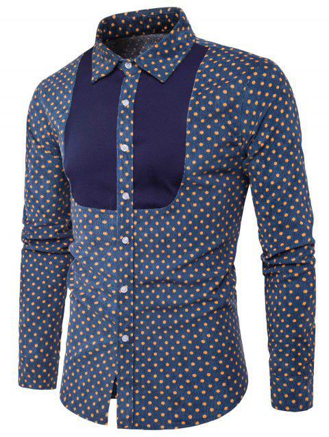 Color Block Panel Corduroy Polka Dot Shirt - PURPLISH BLUE 2XL