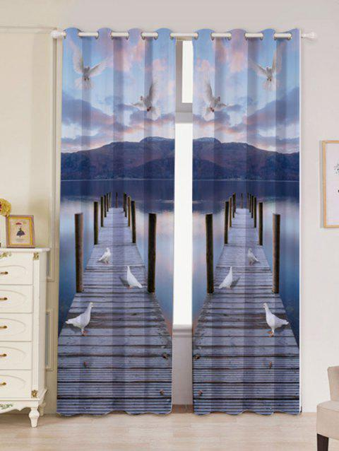 2 Panel Lake Scenic Grommet Blackout Window Curtain - BLUE GRAY W53 INCH * L96.5 INCH