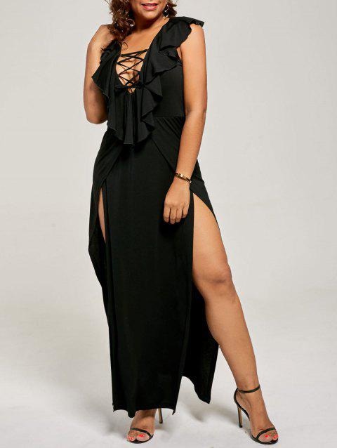41% OFF] 2019 Plus Size Lace Up High Slit Flounce Dress In BLACK ...