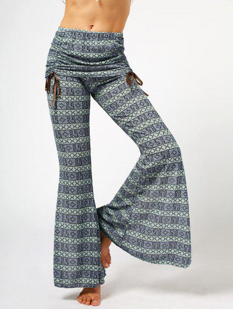 Women's Chic High Waist Bowknot Lace Loose Flare Pants - GRAY S